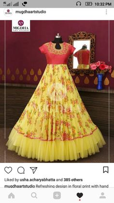 Refreshing design in floral print with hand touch in tint color combination from the house of mugdha art studio. Product code - MA 142 To Order : WhatsApp: 8142029190 / 9010906544 . Gown Dress Party Wear, Party Wear Long Gowns, Kids Party Wear Dresses, Party Wear Indian Dresses, Long Gown Dress, Indian Gowns Dresses, Frock Dress, Dresses Kids Girl, Long Frock