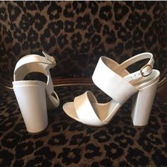 Shoemint  white sandals . 5inch size 6 white sandal heels Shoemint Shoes Sandals