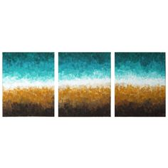 ROCKY SHORELINE  Abstract Painting    Set of 3 8x10 Canvases   by nJoyArt