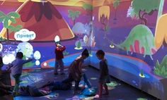 Innovation and creative interactive playground for children from 3 to 10 years (located in Moscow). We created a magical cartoon space where children can autonomously… Interactive Projection, Interactive Media, Projection Mapping, Museum Art Gallery, Media Wall, Play Spaces, Digital Media, Multimedia, Playground