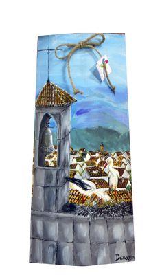 Cigüeña en campanario. Teja pintada