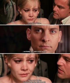 """The Great Gatsby quote : """"He began talking excitedly but with every word Daisy was drawing further and further into herself"""""""