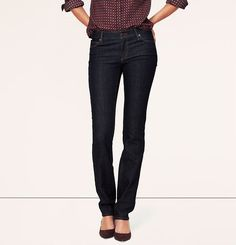 Curvy Straight Leg Jeans in Dark Rinse Wash - I like them cuffed. Curvy Straight Leg Jeans in Dark Rinse Wash Mom Outfits, Casual Outfits, Cute Outfits, Dark Jeans, Dark Denim, Tall Clothing, Petite Pants, Classic Outfits, Classic Clothes