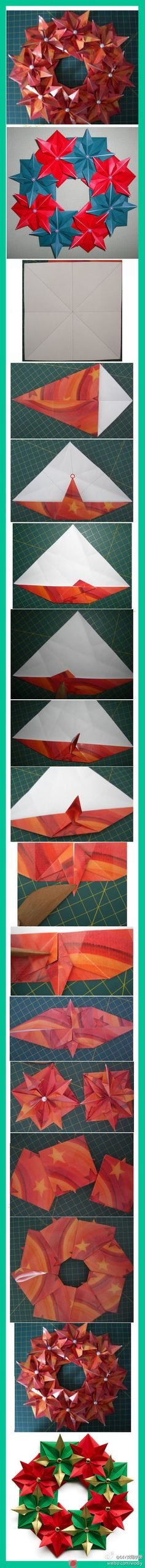 Origami Flowers Decoration Diy Crafts 57 Ideas For 2019 Origami Wreath, Paper Crafts Origami, Origami Stars, Diy Origami, Origami Tutorial, Diy Paper, Oragami, Wreath Tutorial, Christmas Origami