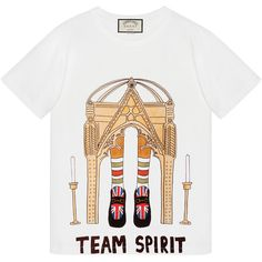 Gucci Angelica Hicks Limited Edition T-Shirt (€440) ❤ liked on Polyvore featuring tops, t-shirts, crew neck t shirt, white crew neck t shirt, crew t shirts, gucci tee and pattern t shirt