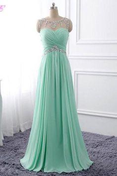 Prom Dress 2017,Mint Green Prom Dresses,Crystal Prom Dresses,Chiffon Prom Dresses,Evening Dress,Long Prom Dress,