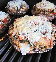 Omg. Portobellos stuffed with quinoa, tomatoes, spinach, onion, basil and mozzarella!