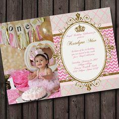First birthday pink and gold invitation princess invitation polk a