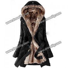 Zicac Women's Thicken Fleece Faux Fur Warm Winter Coat Hood Parka. This is very stylish coat. Mode Chic, Mode Style, Look Fashion, Korean Fashion, Cheap Fashion, Fashion Black, Fashion Coat, Vogue Fashion, Female Fashion