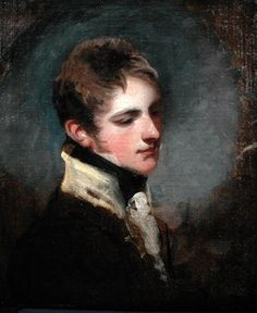 Portrait of Lieutenant Colonel S. Coote Martin (1793-1815) ca.1815 - John James Masquerier - The size & manner of its execution might indicate that it was a gift to his wife, whom Masquerier also painted in 1811. The downward gaze would be extremely unusual in a more formal portrait, & it seems improbable that this sketch was executed as a preliminary to a further work. The buff collar is in fact the priming visible before the application of the dark blue of the Grenadier Guards facings.