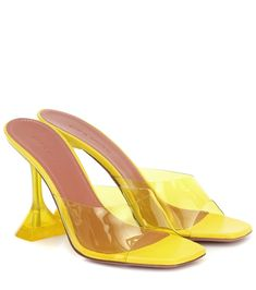 Finished in a highlighter-yellow shade, these Lupita sandals from Amina Muaddi will inflect your look with statement-making appeal. They're crafted in Italy to a square-toe silhouette with transparent PVC straps, then . Sheepskin Boots, Shades Of Yellow, Mellow Yellow, Luxury Shoes, Thigh High Boots, Shoe Collection, Star Fashion, Kurt Geiger, Designer Shoes