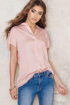 Tencel Cap Sleeve Shirt - Buy online | NA-KD