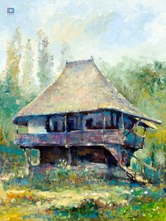 Vitalie Butescu - Casă la Vâlcea / House at Vâlcea, 60 x 50 cm, ulei pe pânză / oil on canvas