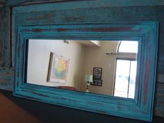 Mirror Wood Frame Turquoise Distressed $28