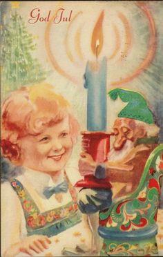 Julekort Ellen Marie Hernæs Jente. Nisse m/grønn lue. No.Arbeide. Stemplet 1943