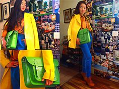 Green Cambridge Satchel, Fluorescent Yellow Blazer, Red Wooden Ring, Golden Silk Shirt, Blue Trousers With Elasticated Waist, Still Like Lace Up Leather High Heel