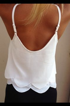 || Ivory Scallop Tank Top--would look cute with cut off jean shorts or chino depending on style mood.