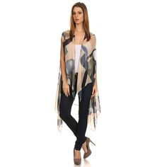 Womens Open Front Lightweight Sleeveless Hi Lo Poncho