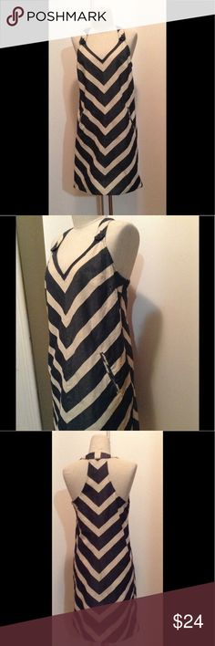 Anthropologie 6 cotton spandex stripe tank dress Stripe Racerback dress with side zip and button shoulder closing. Stripes are in a chevron pattern. Navy/cream size 6 Anthropologie Dresses Mini