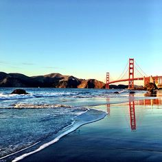 Golden Gate Bridge reflections at Marshall Beach. Instagram photo by ginauriarte. #SF #SanFrancisco