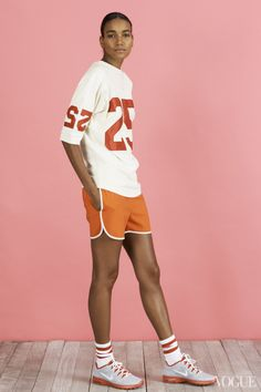 Join a softball league and be that girl. Why not? She's fitter than you anyway.Arlenis Sosa in an Organic by John Patrick top, Tommy Hilfiger shorts, American Apparel socks, Nike shoesOrganic by John Patrick 25 sweatshirt, $285organicbyjohnpatrick.comTommy Hilfiger orange silk shorts, $249Tommy Hilfiger, NYC, 212.223.1824American Apparel stripe calf-high socks, $9americanapparel.netNike Air Max Fusion Team shoes, $85nike.com