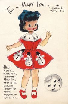 This is Mary Lou a darling vintage Christmas Hallmark paper doll. #paper_dolls #Christmas #vintage