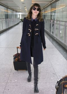 Toggle coat, grey jeans, low-heel chelsea boots