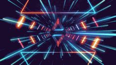• gif trippy neon glow geometry tunnel neon lights retro futurism retro space Glowing lines romanowsky •