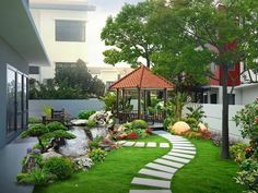 47 Examples Landscaping Ideas You can Put in House Page Cheap front yard landscaping ideas that will inspire 00023 Related 12 small gardens that you can adapt to perfection in your home. Create a nice green area for your family! Image may contain: plant, Modern Backyard, Backyard Garden Design, Garden Landscape Design, Small Garden Design, Yard Design, Terrace Garden, Backyard Patio, Patio Decks, House With Garden