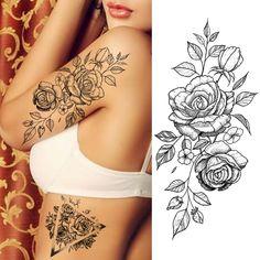 Hard Tattoos, Rose Tattoos, Small Tattoos, Tatoos, Flower Tattoos On Arm, Lotus Tatoo, Tattoo Transfers, Shoulder Tattoos For Women, Permanent Tattoo
