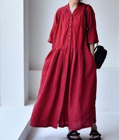 Women linen Dresses, long dress, Dress with Pockets, Summer Dresses, minimalist dress Linen Dresses, Cotton Dresses, Black Dress Coat, Wool Overcoat, Minimalist Dresses, Long Shirt Dress, Summer Dresses For Women, Plus Size Outfits, Women's Fashion