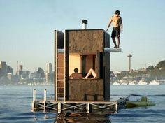 Wa-sauna. Floating sauna
