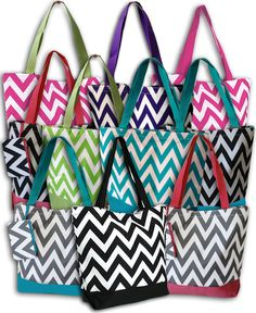 Personalized+Gift+Chevron+Tote+Bag+Black+Pink+by+DoubleBEmbroidery,+$18.95