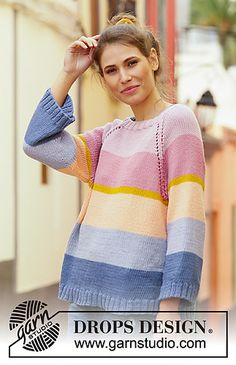 Ravelry: Sonora Sunrise Sweater pattern by DROPS design Drops Design, Sweater Knitting Patterns, Free Knitting, Drops Paris, Magazine Drops, Mohair Sweater, Recycled Denim, Knit Picks, Knit Crochet