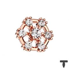 6 mm Dermal Anchor rosegold Hexagon mit Kristall in Materialstärke mm Dermal Anchor, Chf, Piercing, Rose Gold, Stud Earrings, Floral, Jewelry, Dermal Piercing, Jewlery