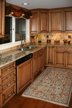 Kitchens17L Maple Kitchen Cabinets with Burnt Sugar Glaze.jpg provided by Works of Art Tile, Kitchen Cabinet Design, Kitchen & Bath Remodeli...
