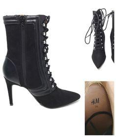 a2e49e80a2e5 H M STILETTO BOOTS- Black Leather   Suede