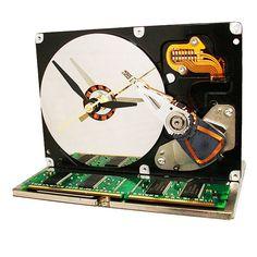 Techie Computer Hard Drive Clock by TECOART on Etsy, $42.00