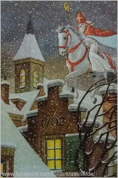 Sinterklaas came on Christmas in the netherlands to celebrate Christmas. Vintage Christmas Images, Retro Christmas, Christmas Love, Country Christmas, Christmas Christmas, St Nicholas Day, Gravure Illustration, Primitive Christmas, Primitive Crafts