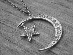 Moon Necklace Crescent Moon Silver Star Half Moon by InkandRoses13, $22.99