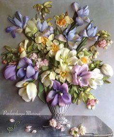 Вышивка лентами Бал Цветов - купить или заказать в интернет-магазине на Ярмарке Мастеров | Картина вышита натуральными шелковыми лентами.
