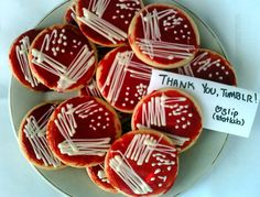 Too cute!  Case in point - these awesome cookies just one reason why you should be followingstatlabif you're not already. :)  statlab:    I baked you all some BAP cookies (by which I mean cream cheese sugar cookies with minty icing and white chocolate colonies