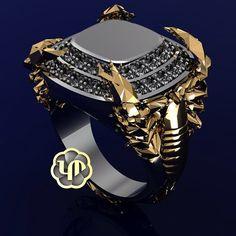 #mens #diamonds #ring #diamonds #yellowgold #whitegold #twotone #scorpion #claws #tail #8legs #powerful #venom #custom #gold