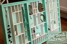 Re-purposed Jewelry Display / Storage by Old Soul Salvage. Painted with Annie Sloan Chalk Paint Florence mixed with Pure White.