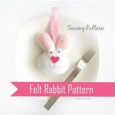DIY Felt Rabbit  PDF Sewing Pattern Felt Bunny by Mariapalito