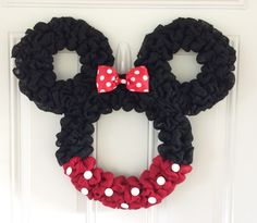 Minnie Mouse wreath - Burlap wreath - Countdown to Disney - Personalized Minnie - party decor - nursery decor - Mickey mouse wreath by TheCraftinBear on Etsy https://www.etsy.com/listing/211129178/minnie-mouse-wreath-burlap-wreath