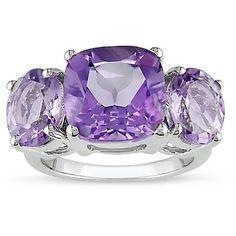 M by Miadora Silver Amethyst and Rose de France Quartz Ring (Size 9), Women's, Purple