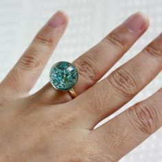Blue Pressed Flower Resin Ring
