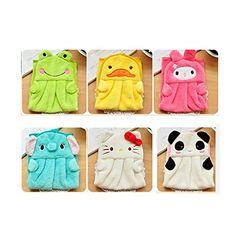 HuaYang Cartoon Hanging Baby Kids Soft Plush Fabric Bathing Nursery Wipe Hand Towel(Frog) by HuaYang Towel Wrap, Baby Towel, Baby Sewing, Hand Towels, Baby Kids, Sewing Projects, Plush, Nursery, Cartoon