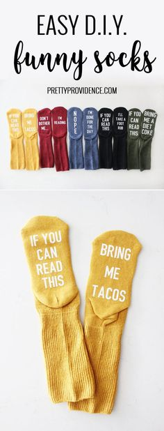 I love this easy funny socks tutorial! They would make perfect gifts for friends… I love this easy funny socks tutorial! They would make perfect gifts for friends or teachers! Cute and easy to customize to fit each persons personality! Diy Christmas Gifts For Friends, Christmas Presents For Friends, Diy Holiday Gifts, Funny Christmas Gifts, Christmas Gifts For Boyfriend, Easy Diy Gifts, Best Friend Gifts, Gifts For Kids, Christmas Diy